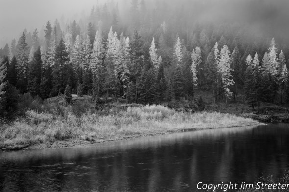 Fog floats through the trees along the banks of the Blackfoot River in western Montana in the fall.