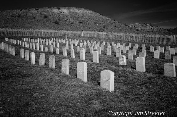Tombstones catch the light in the Fort Boise Military Cemetery in Boise, Idaho.