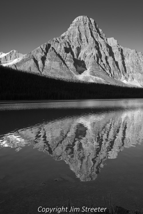 Morning on Upper waterfowl lake along the Icefields Parkway in Banff National Park in Alberta, Canada.