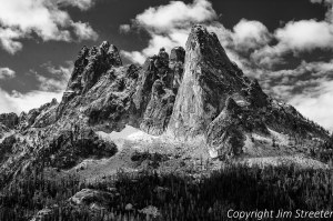 Liberty Bell mountain at Washington Pass is dusted by an early fall snow