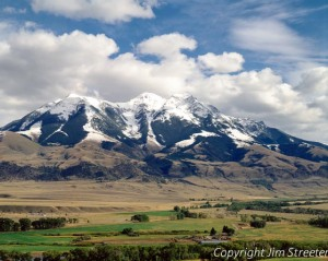 Emigrant Peak, part of the Absaroka mountains, looms over the Paradise Valley in southwest Montana.