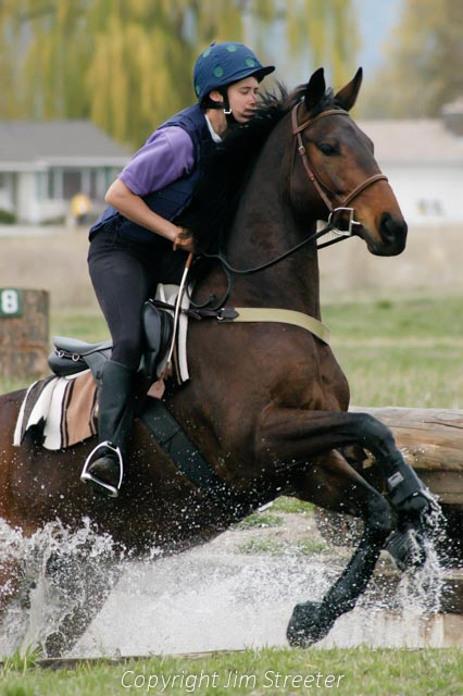 An equestrian rides her horse out of a water obstacle on a cross-country eventing course in Missoula, Montana.