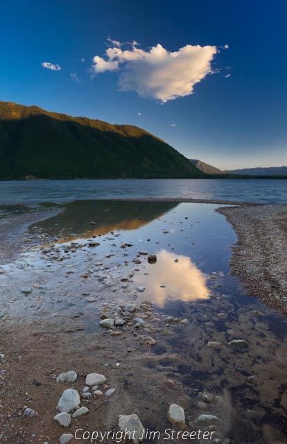 Summer evening on the western shore of Lake McDonald in Glacier National Park in Montana