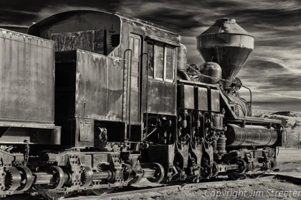 A 1923 Shay Steam engine sits on display at Fort Missoula in Missoula, Montana. This was the most widely used geared steam locomotive.