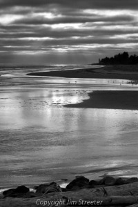 Sunset along the Pacific coast near Grays Harbor, Washington.