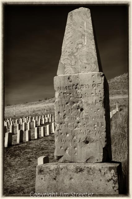 An old headstone marks a grave at the Fort Boise Military Cemetery in Boise, Idaho.