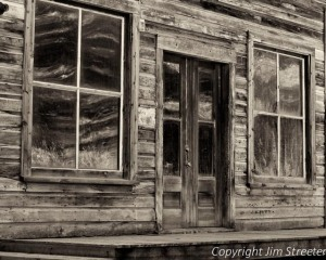 Weathered buildings still stand in Garnet Ghost Town near Missoula, Montana.