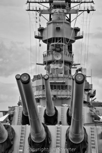 Guns on the battleship USS Missouri, (BB-63) currently docked on Ford Island in Honolulu, Hawaii. The Missouri was the site of the Japanese surrender which ended World War II.