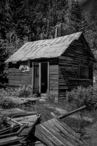 The shell of a house still stands in Granite ghost town near Phillipsburg, Montana. Silver was mined in Granite starting in the 1870's but the mine was abandoned during the silver panic of 1893.
