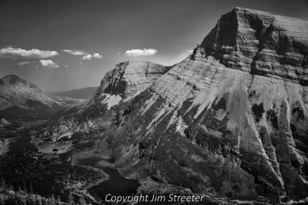 View from Swiftcurrent Pass down into the Many Glacier valley in Glacier National Park, Montana.