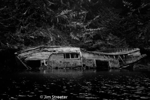 The ddecaying hull of a boat rests along the shore of Ucluelet Harbor in Uclulet, British Columbia. The image was taken from a kayak.