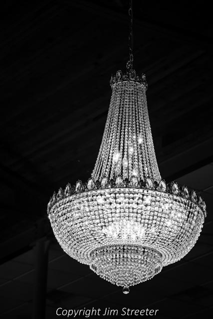 An elegant crystal chandelier lights up the ballrom in the Helena Civic Center in Helena, Montana. The civic center was built in 1920 as a Shrine temple and is now owned by the City of Helena.