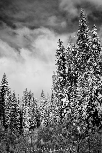 Clouds at the edge of a winter storm move across the sky above the west fork of the Clearwater north of Seeley Lake in western Montana.
