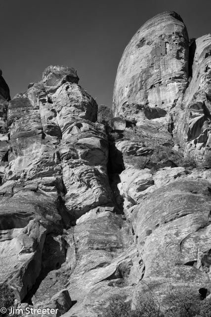 Rock walls reach skyward in Red Cliffs National Recreation Area outside of St. George, Utah.