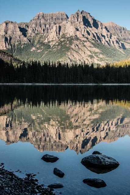 Mountains from the Livingston range reflect in the still waters near the head of Bowman Lake on a summer morning in Glacier National Park. Bowman Lake is located in a remote area along the western edge of the park in Montana.