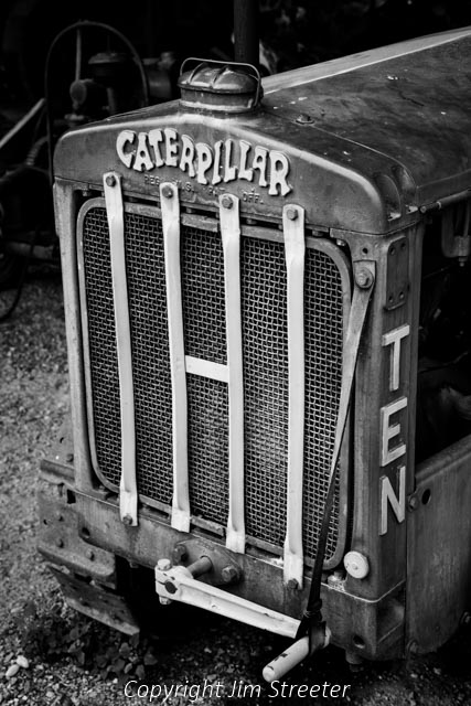 The front grill of an antique Cat Ten Caterpillar tractor at Fort Missoula in Missoula, Montana The tractor is one of only 4,929 manufactured from 1928 to 1932.