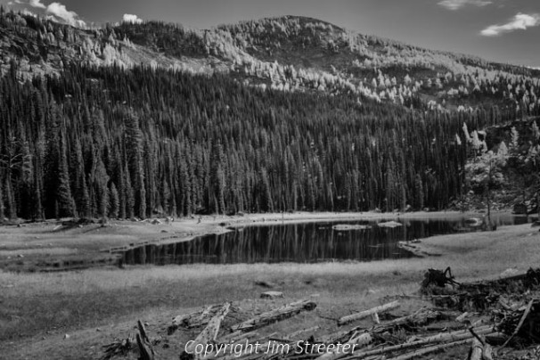 Trees on the surrounding slopes reflect in the reservoir created by the abandoned irrigation dam at the outlet to Upper Bear lake along the trail to Coquina lake high above the Bitterroot valley of western Montana. The lake is located on the Montana side of the Bitterroot divide in the Selway-Bitterroot wilderness.