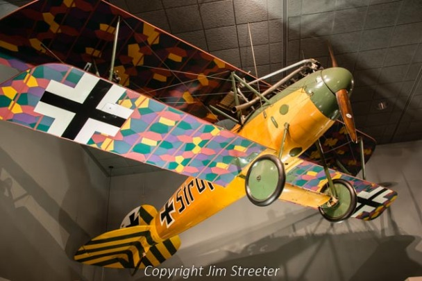 A 1916 German Albatros Werke biplane hangs in the Smithsonian National Air and Space Museum in Washington DC. The plane was used by the Imperial German Air Service during World War I It was captured something in April or May 1918.