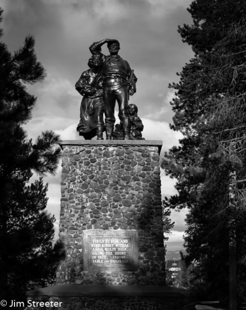 The Pioneer Statue stands in Donner Memorial State Park in California as a memorial to the ill-fated Donner party. The group of 90 migrants from Springfield, Illinois was stranded at the pass over the winter of 1846-47 by snow estimated to be 22 feet deep. Forty-two members of the party died during the winter from starvation or exposure.