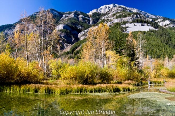 Fall foliage reflects in the Sun River along the Rocky Mountain Front near Choteau, Montana. The Rocky Mountain Front, where the central plains meet the Rockies, extends from British Columbia, Canada south through Montana, Wyoming and Colorado.