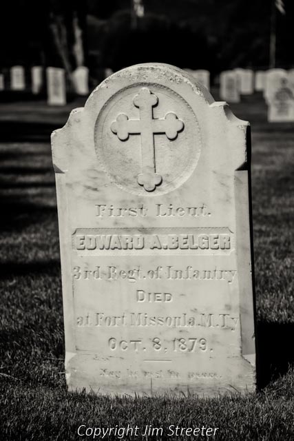 The headstone of 1st Lieutenant Edward A. Belger stands at the Fort Missoula military cemetery. He was the first officer to die at Fort Missoula. The fort was founded in 1876 and the early troops were assigned to control the native Americans living in the region.