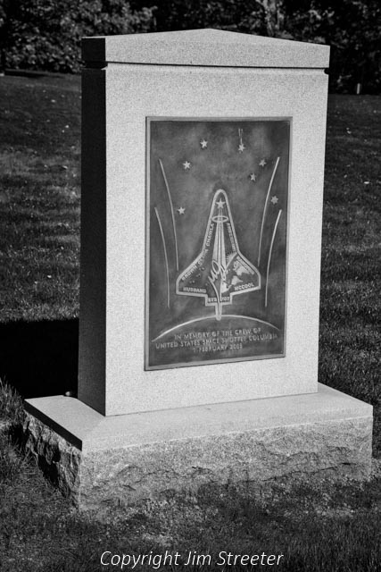 A memorial to the seven crew members of the space shuttle Columbia sits in Arlington National Cemetery. On the morning of February 1, 2003 the shuttle disintegrated on reentering the Earths atmosphere after a 17-day mission.