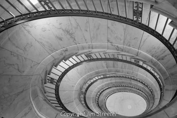 View down one of two self-supporting spiral staircases in the US Supreme Court building in Washington DC.