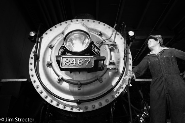 Southern Pacific steam locomotive, built in 1921, sits on display at the Sacremento Railroad Museum in Sacramento, California. It was one 15 heavy 4-6-2 Pacific-type steam locomotives built by the Baldwin Locomotive Works. It was retired from service in 1956 and restored in 1990.
